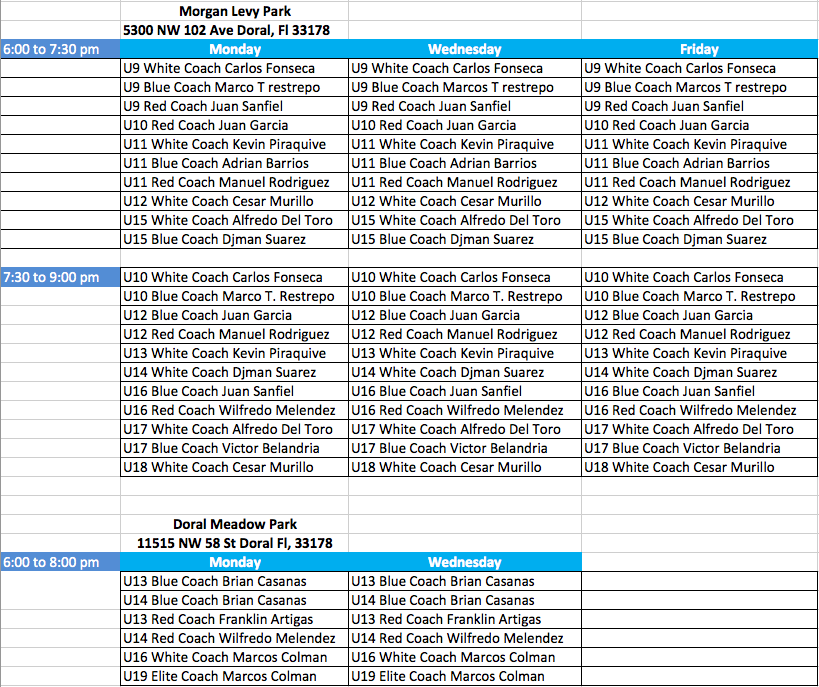 competitive season schedule 2016